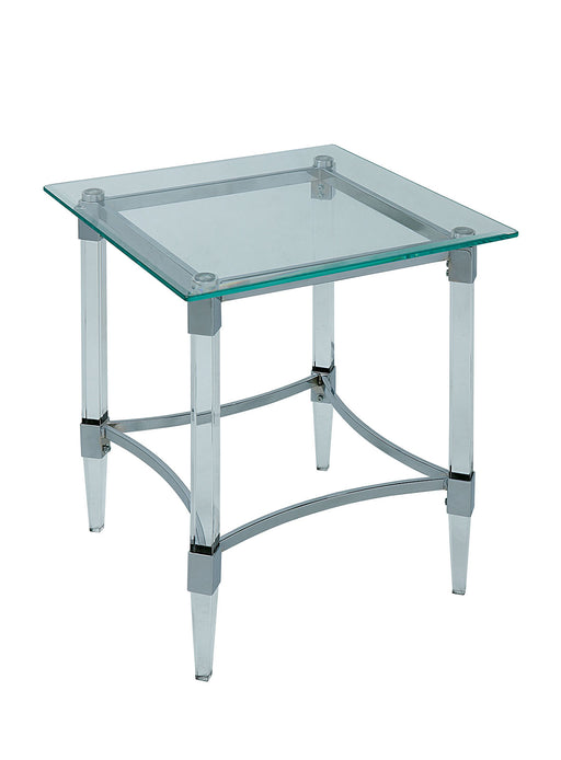 Beaumaris Clear/Chrome End Table - Canales Furniture