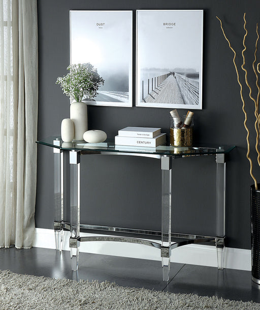 Beaumaris Clear/Chrome Sofa Table - Canales Furniture