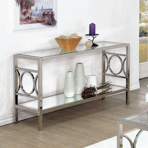 RYLEE Chrome Sofa Table, Chrome - Canales Furniture