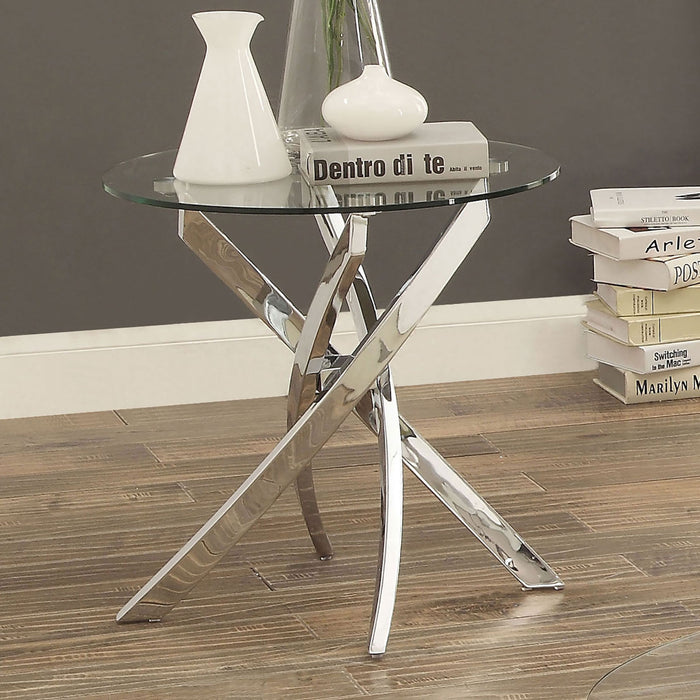 LAILA Chrome End Table - Canales Furniture