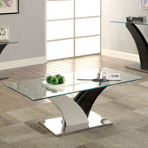 SLOANE White/Dark Gray/Chrome Coffee Table - Canales Furniture