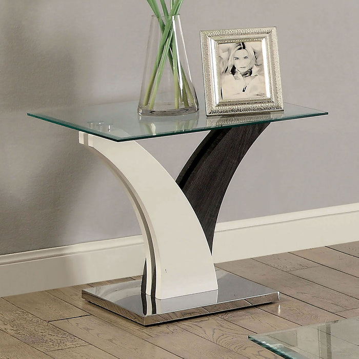 SLOANE White/Dark Gray/Chrome End Table - Canales Furniture
