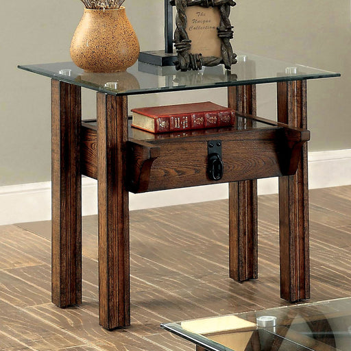 PENNY Medium Weathered Oak End Table - Canales Furniture