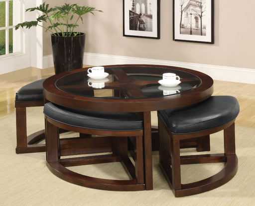 Crystal Cove II Dark Walnut Round Coffee Table w/ 4 Stools - Canales Furniture