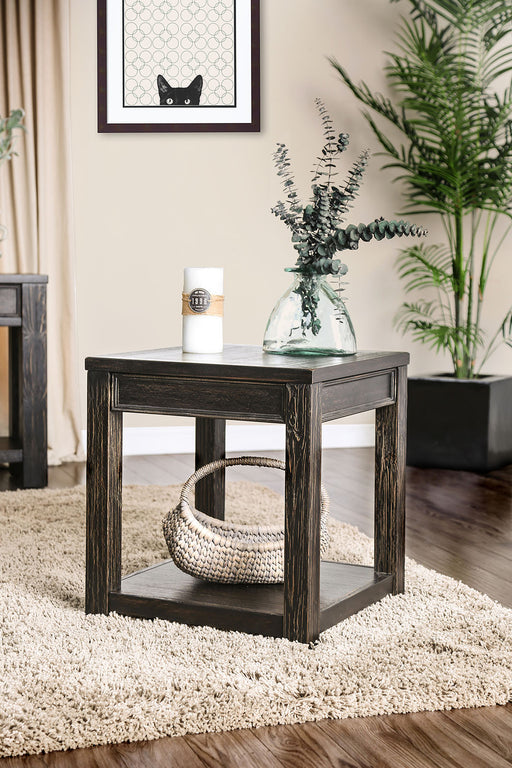 MEADOW Antique Black End Table - Canales Furniture
