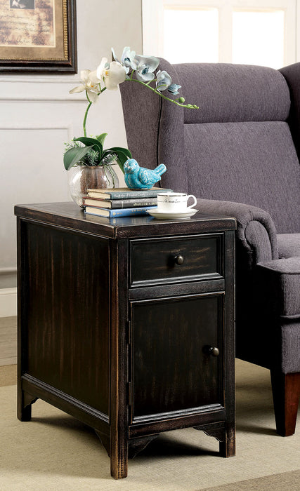 MEADOW Antique Black Side Table - Canales Furniture