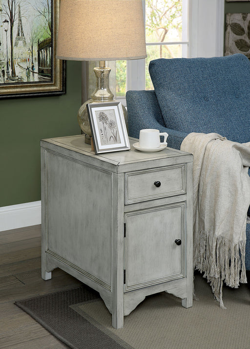 Meadow Antique White Side Table - Canales Furniture