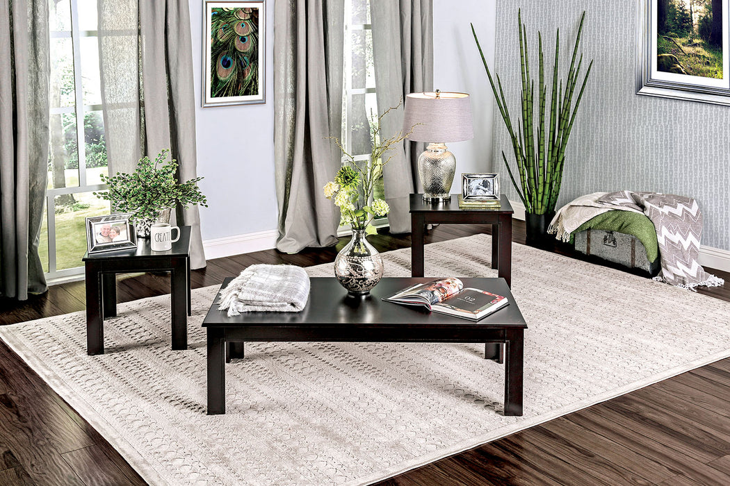 Bay Square Black 3 Pc. Coffee Table Set - Canales Furniture