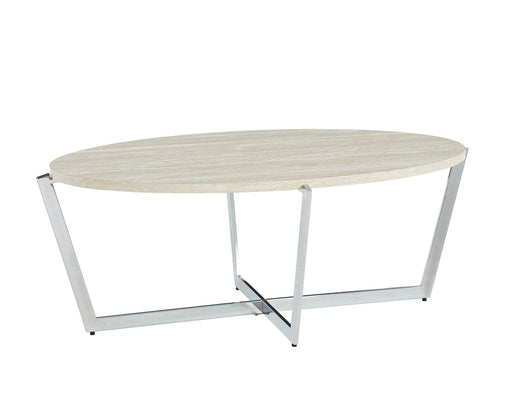 Madisyn White/Chrome Coffee Table - Canales Furniture