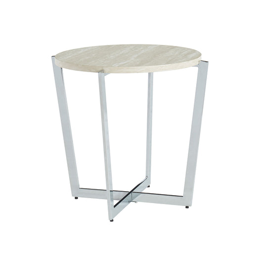 Madisyn White/Chrome End Table - Canales Furniture