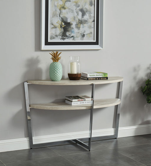 Madisyn White/Chrome Sofa Table - Canales Furniture