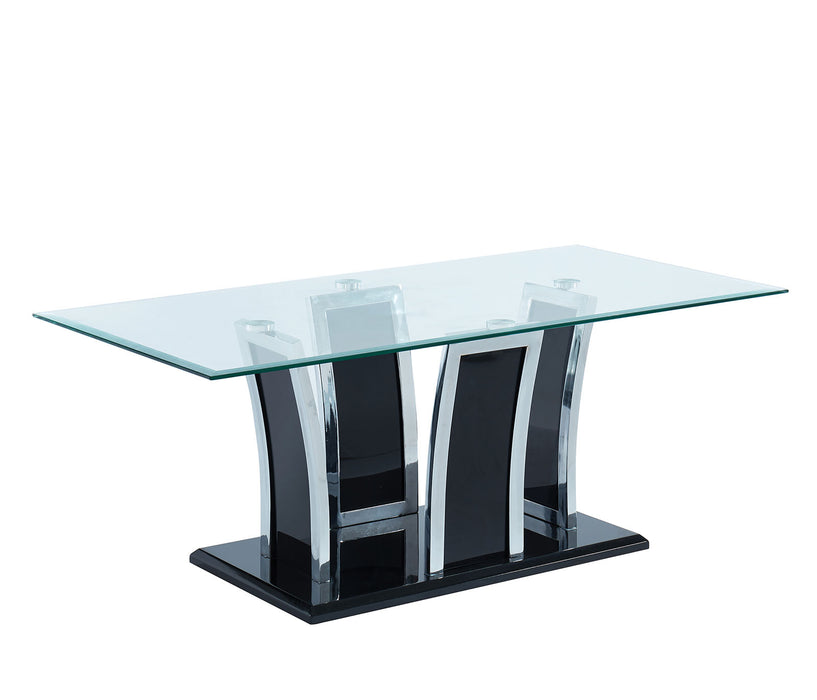 Staten Glossy Black/Chrome Coffee Table - Canales Furniture