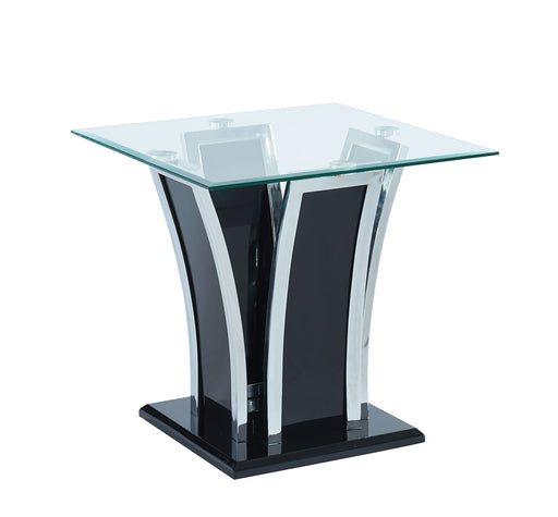 Staten Glossy Black/Chrome End Table - Canales Furniture