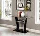 Staten Glossy Black/Chrome Sofa Table - Canales Furniture