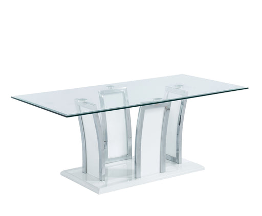 Staten Glossy White/Chrome Coffee Table - Canales Furniture