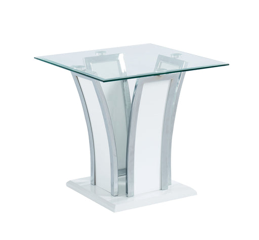 Staten Glossy White/Chrome End Table - Canales Furniture