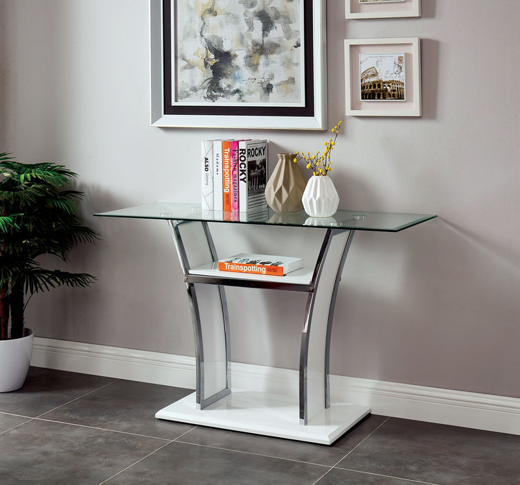 Staten Glossy White/Chrome Sofa Table - Canales Furniture
