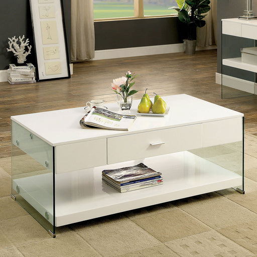 Raya White Coffee Table, White - Canales Furniture