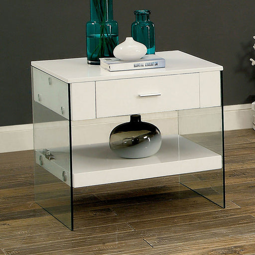 Raya White End Table, White - Canales Furniture