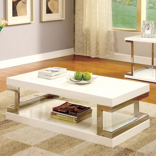 MEDA White/Chrome Coffee Table, White - Canales Furniture