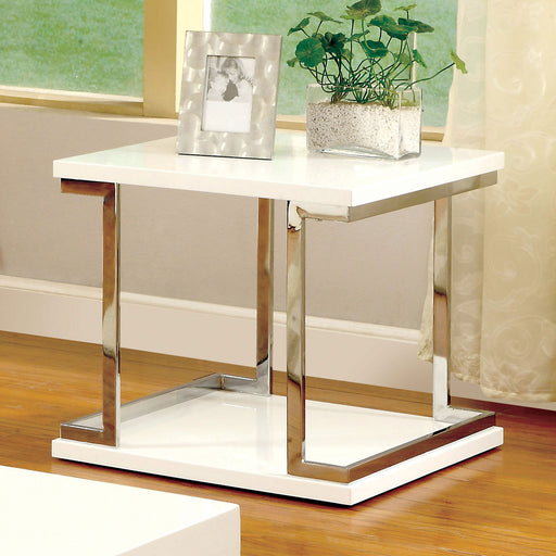MEDA White/Chrome End Table, White - Canales Furniture