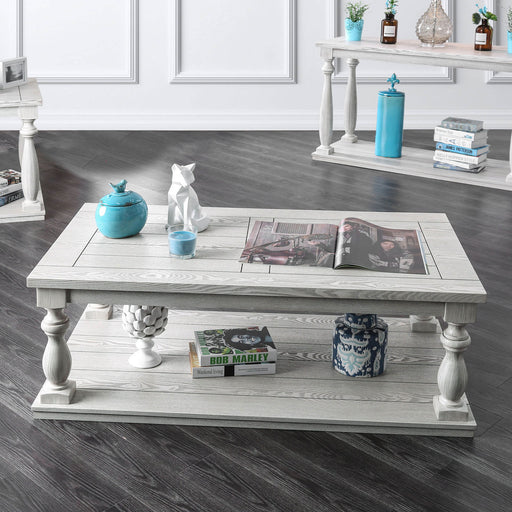 Arlington Antique White Coffee Table - Canales Furniture