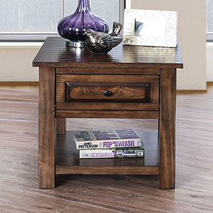 Annabel Walnut End Table - Canales Furniture