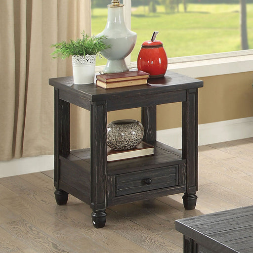 Suzette Antique Black End Table, Antique Black - Canales Furniture