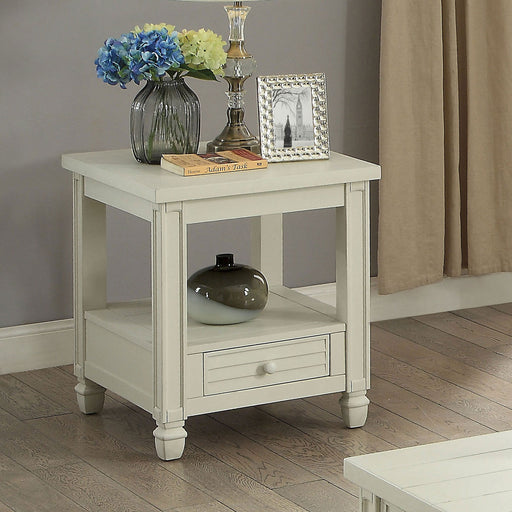 Suzette Antique White End Table, Antique White - Canales Furniture