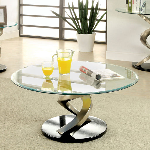 NOVA Satin Plated/Black Coffee Table - Canales Furniture