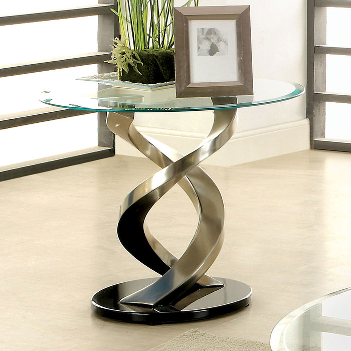 NOVA Satin Plated/Black End Table - Canales Furniture