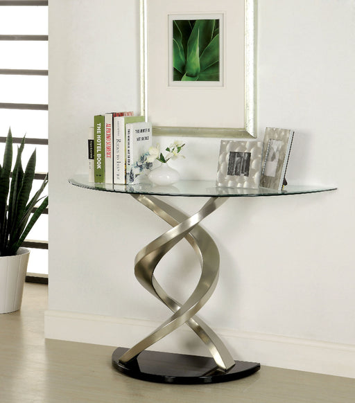 NOVA Satin Plated/Black Sofa Table - Canales Furniture