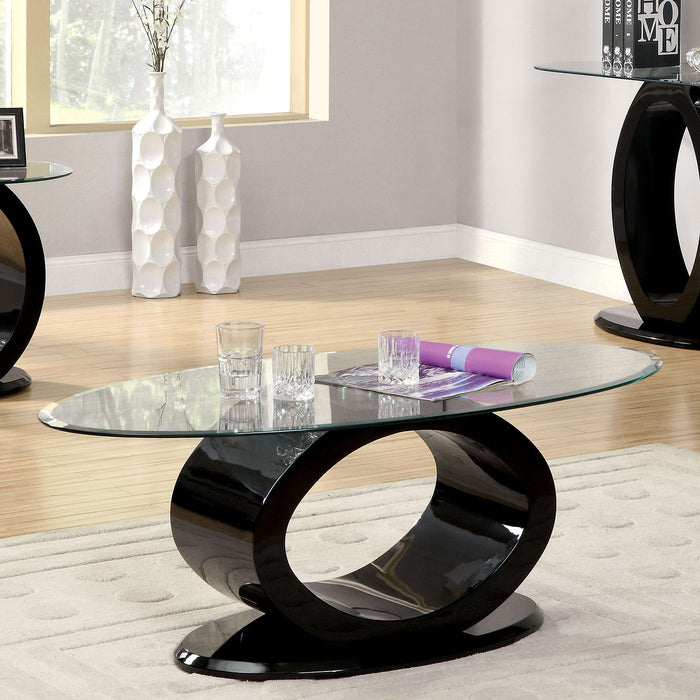 LODIA III Black Coffee Table, Black - Canales Furniture