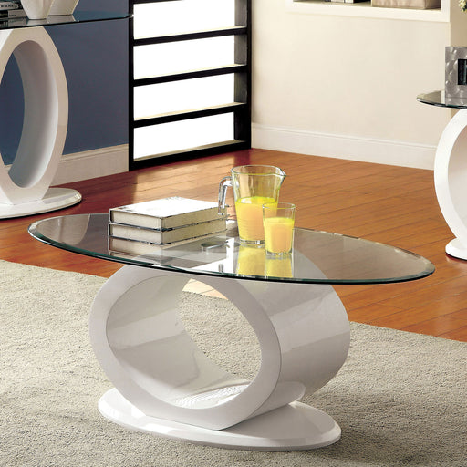LODIA III White Coffee Table, White - Canales Furniture