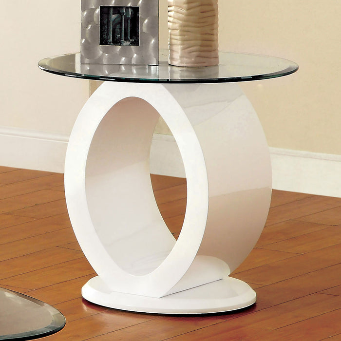 LODIA III White End Table, White - Canales Furniture