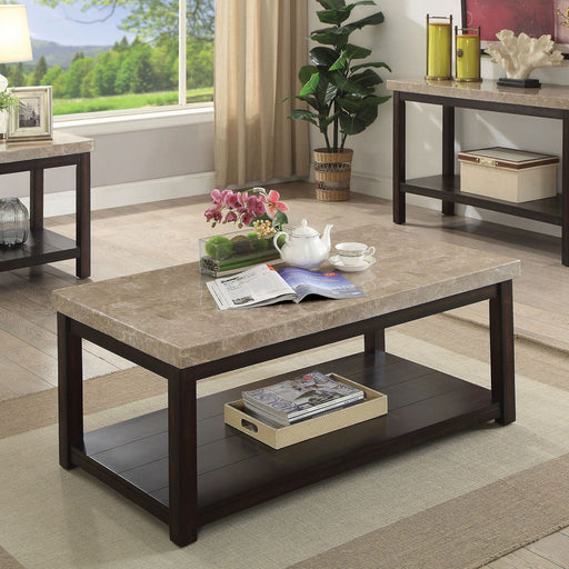 Calgary Dark Walnut/Ivory Coffee Table - Canales Furniture