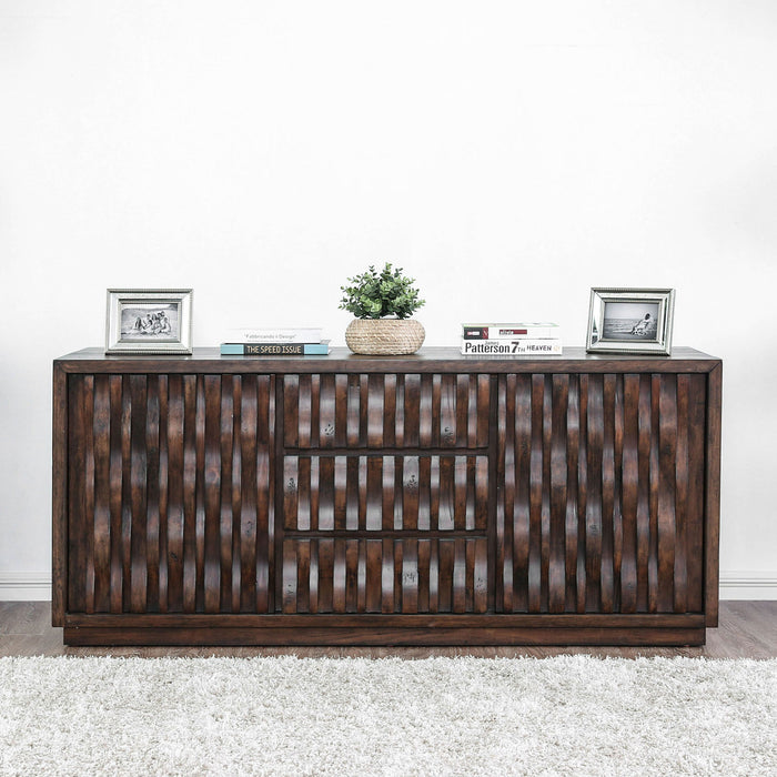"Eutropia II Warm Chestnut 64"" TV Stand - Canales Furniture"