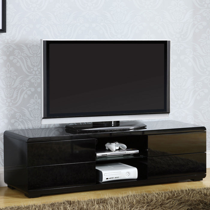 "Cerro Black 59"" TV Console, Black - Canales Furniture"