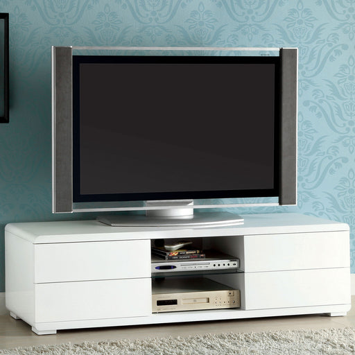 "Cerro White 59"" TV Console, White - Canales Furniture"