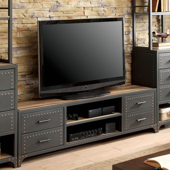 "Galway Sand Black/Natural Tone 60"" TV Stand - Canales Furniture"