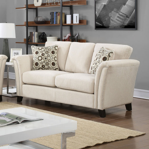 CAMPBELL Ivory Love Seat, Ivory - Canales Furniture