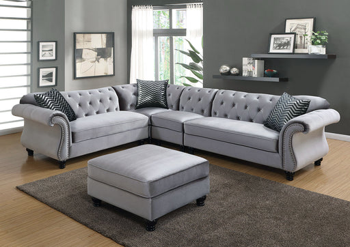 JOLANDA II Gray Sectional + 1 Right Side Chair, Gray - Canales Furniture