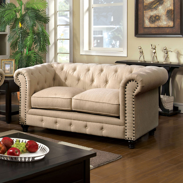 STANFORD Ivory Love Seat, Ivory Fabric - Canales Furniture