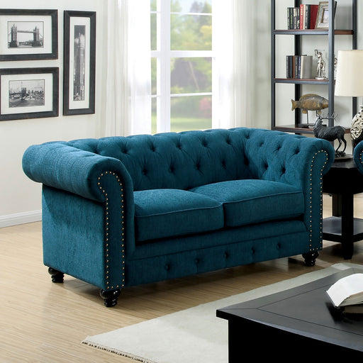 STANFORD Dark Teal Love Seat, Dark Teal Fabric - Canales Furniture