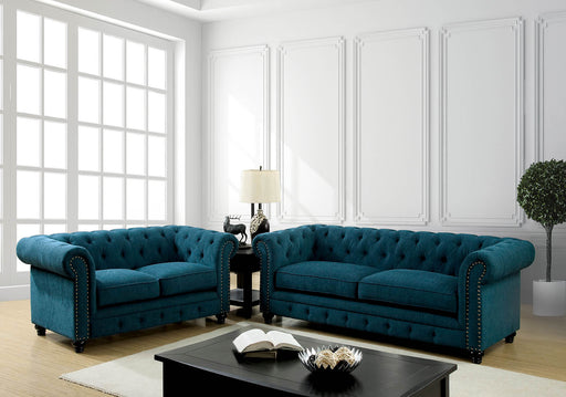 STANFORD Dark Teal Sofa + Love Seat - Canales Furniture