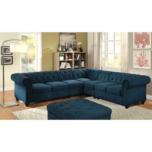 Stanford II Dark Teal Sectional w/ 2 Armless, Teal - Canales Furniture