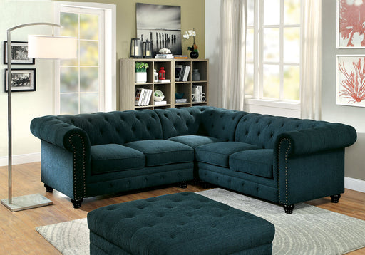Stanford II Dark Teal Sectional, Teal Fabric - Canales Furniture