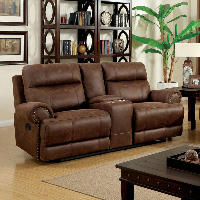 KELLIE Brown Console Love Seat & 2 Recliners - Canales Furniture