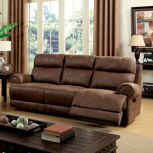 KELLIE Brown Sofa w/ 2 Recliners - Canales Furniture