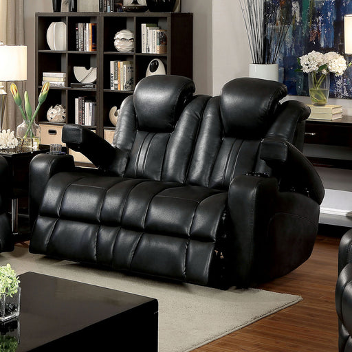 ZAURAK Dark Gray Love Seat w/ 2 Recliners - Canales Furniture